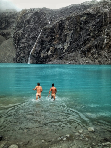Laguna 69 Naked Swim Mountains Blue Water Glacier Peru