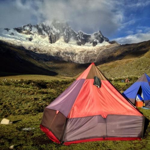 Santa Cruz Trek Camping Tent Mountains Hiking Peru