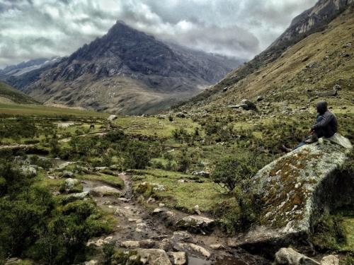 Santa Cruz Trek Rock Overlook Mountains Hiking Peru
