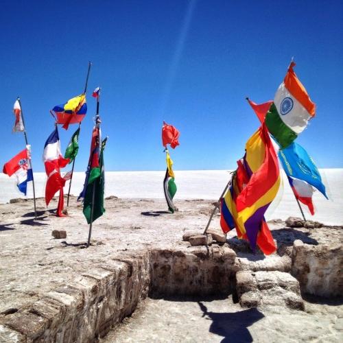 Salar De Uyuni Salt Flats Unfinsihed Hotel Flags Bolivia