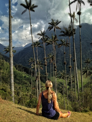 Cocora Valley Wax Palms Girl Sitting Colombia